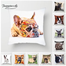 Fuwatacchi Cute Dog Cushion Cover Animal Photo Pillow Cover For Sofa Home Living Room French Bulldog Decorative Pillowcase цены