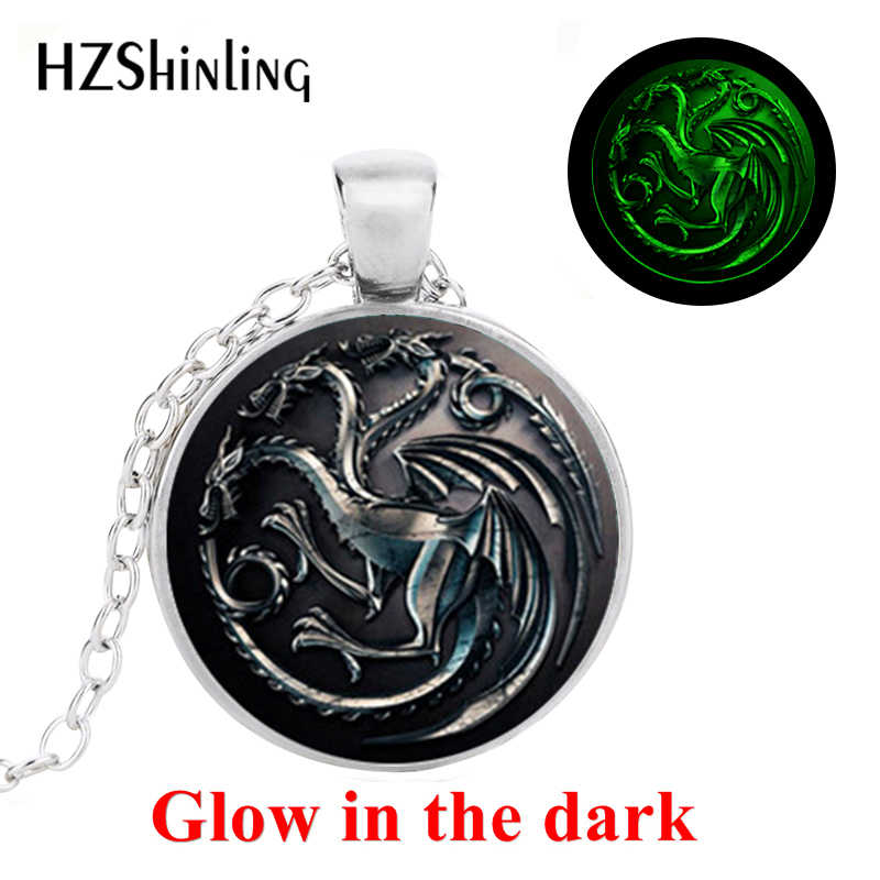 Baru Vintage Game Of Thrones Bersinar Kalung house Targaryen Song Of Ice And Fire Kalung Naga Seni Foto Bersinar Perhiasan