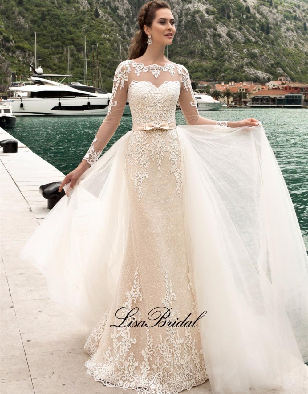 New style mermaid wedding dresses 2017 boat neck long for Boat neck long sleeve wedding dress