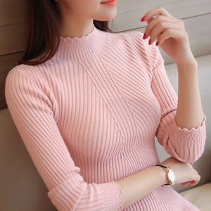 Image 2 - Pull à manches longues à col roulé pour femmes, tricoté, Slim et fin hauts over féminin, automne Hiver, 2018