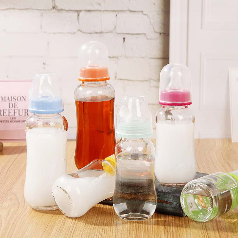 Cute Glass Milk Feeding Cup for Kids Girls Travel Bottle Leak-<font><b>poof</b></font> with Sleeve <font><b>Baby</b></font> Milk Cup Drinking Water Bottle 280ML image