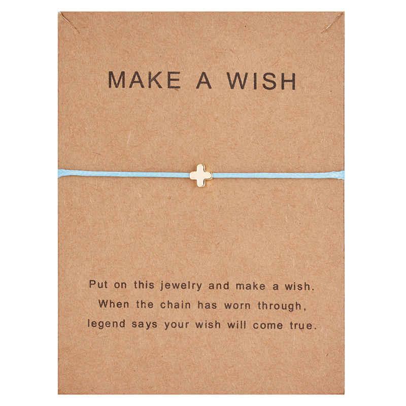 Rinhoo 1PC zrób życzenie karton z prostymi serduszkami gwiazda krzyż geometryczne wiszące bransoletki dla kobiet męska modna biżuteria na prezent
