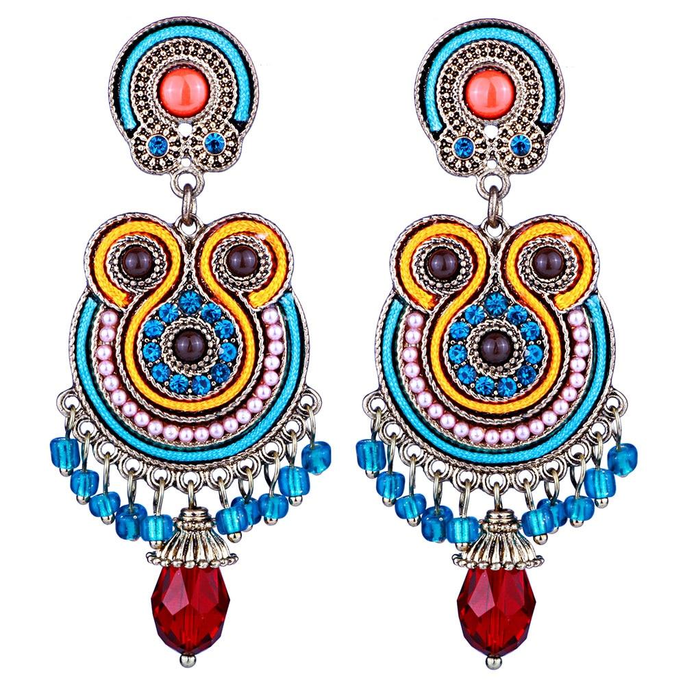 Vintage Round Crystal Beads Tassel Drop Earrings Bohemian Long Earrings For Women