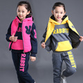 Fashion girls 3 pcs thicken kids sport wear clothes for 4 to 11 year olds girls winter clothes