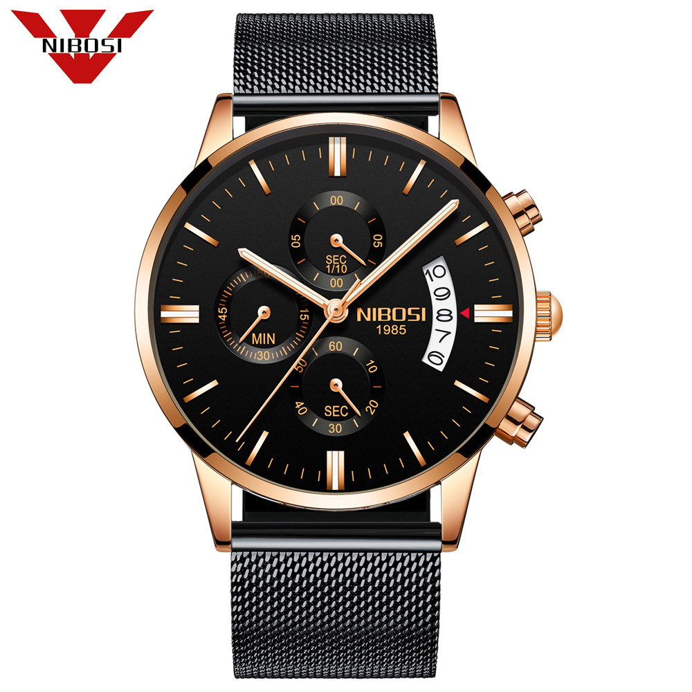 NIBOSI Mens Watches Brand Luxury Men Military Sport Luminous Wristwatch Male Leather Quartz Watch Clock relogio masculino 2018 relojes lige mens watches brand luxury men military sport luminous wristwatch male leather quartz watch clock relogio masculino