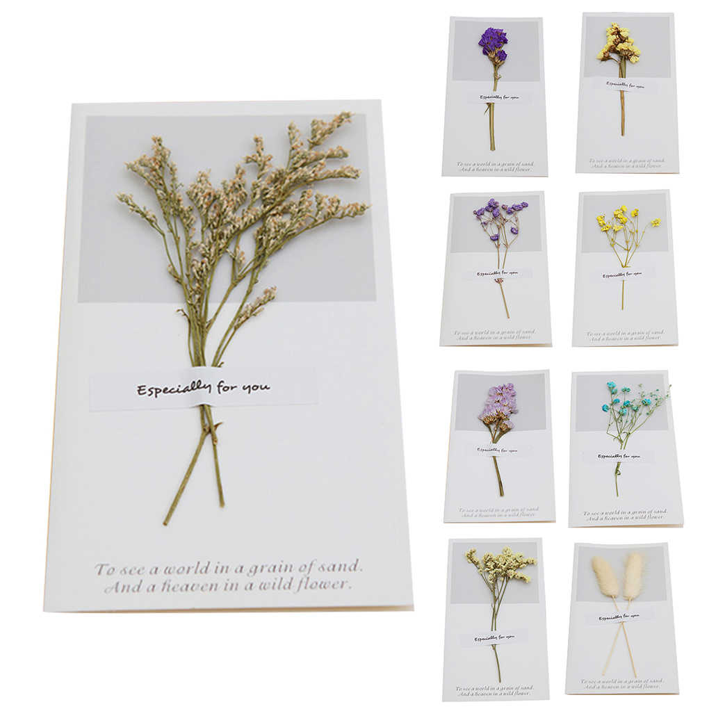 1pcs Birthday Dried Flowers Invitations Postcards Wedding Party Festival Greeting Card