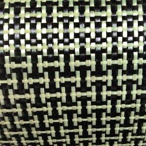 Image 1 - 1100D / 3K 200gsm I Del Tessuto Giallo Kevlar e fibra di Carbonio misto Tessuto Tinta Unita Hybrid Carbon Kevlar Panno
