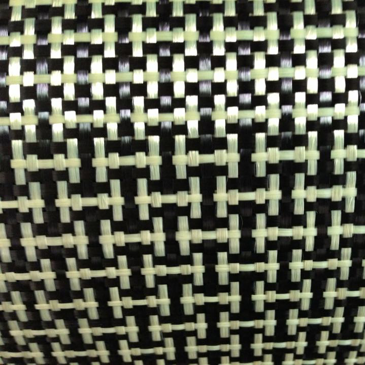 1100D / 3K 200gsm I Weave Yellow Kevlar & Carbon fiber mixed Fabric Plain Carbon Kevlar cloth