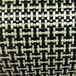 1100D / 3K 200gsm I Weave Yellow Kevlar & Carbon fiber mixed Fabric Plain Carbon Kevlar cloth