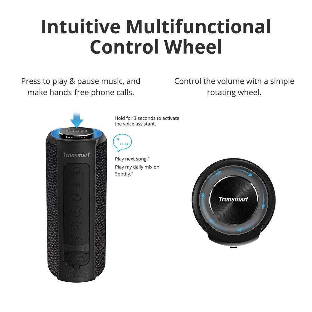 Tronsmart T6 Plus Bluetooth Speaker 40W Portable Speaker Deep Bass Soundbar with IPX6 Waterproof, Power Bank Function SoundPulse- 1