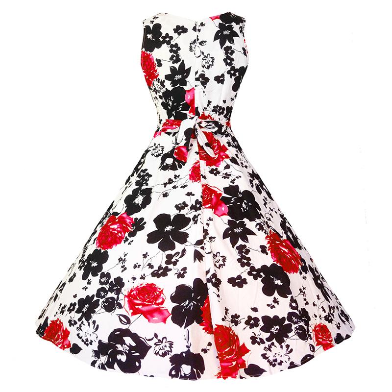 Kostlish Cotton Summer Dress Women 2017 Sleeveless Tunic 50s Vintage Dress Belt Elegant Print Rockabilly Party Dresses Sundress (86)
