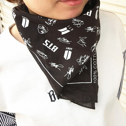New Kpop Bangtan Boys Bts BT21 Jungkook Suga Jin V Signature Cotton Scarf Hip Hop Headband Hair Band Hand Towel ...