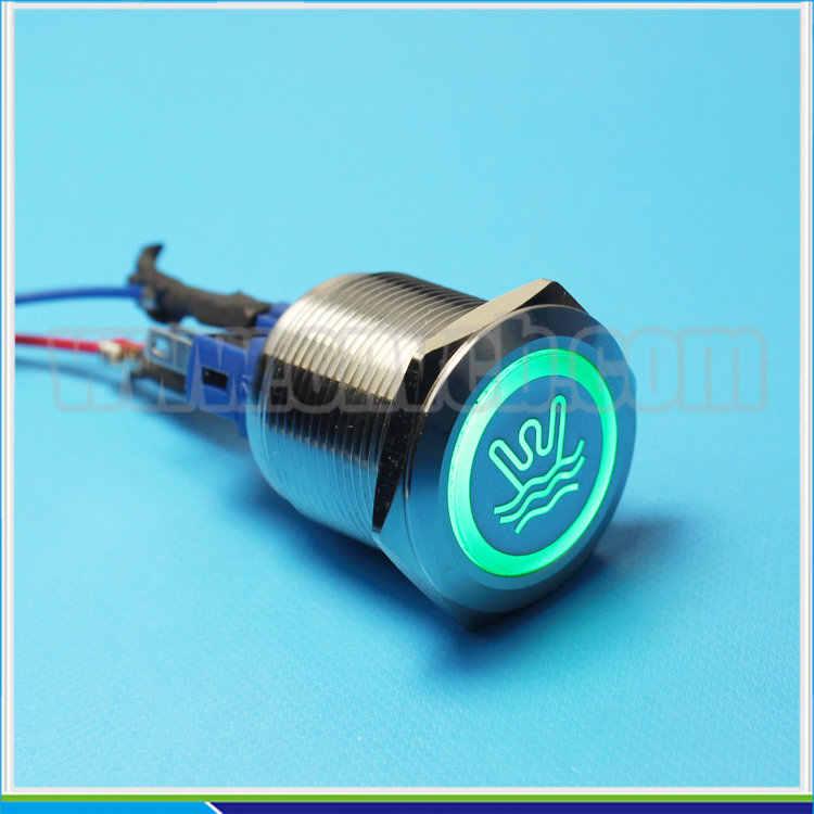 ABBEYCON logo personnalisé et anneau illuminé 22mm sur acier inoxydable IP67 bouton-poussoir interrupteur pour voiture/camion/marine