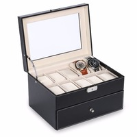 HOMDOX Synthetic Leather Glass Window 2 Tiered 20 Watch Holder Display Storage Store Organizer Box Case