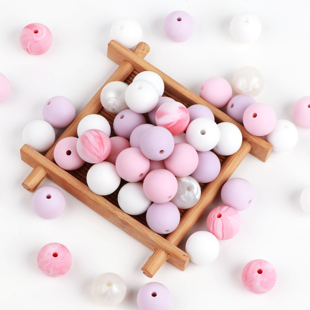 TYRY.HU 10Pcs Food Grade Silicone Beads 12mm Round Beads Baby Chewable Jewelry Accessories Baby Teethers Necklace Pendant Charms