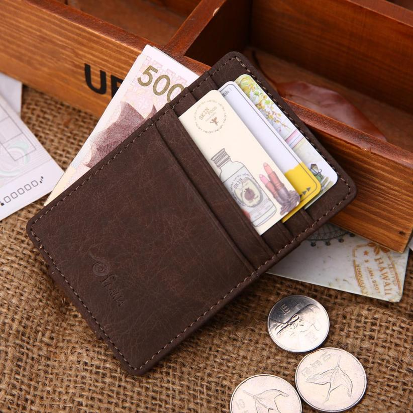 Men Leather Card Cash Receipt Holder Organizer Magnet Wallet Purse BW L126