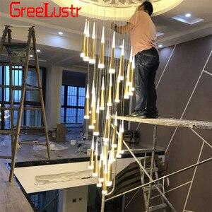 Image 5 - Современные люстры 7W Подвесная лестничная клетка золотой люстра светодиодная люстра люстра led люстры для гостинной   chandelier люстры современные Люминесцентная люстра подвеска на леске