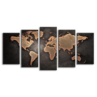 Black Yellow World Map Posters HD Prints Home Decorations Oil Painting 5 Piece Canvas Art Wall
