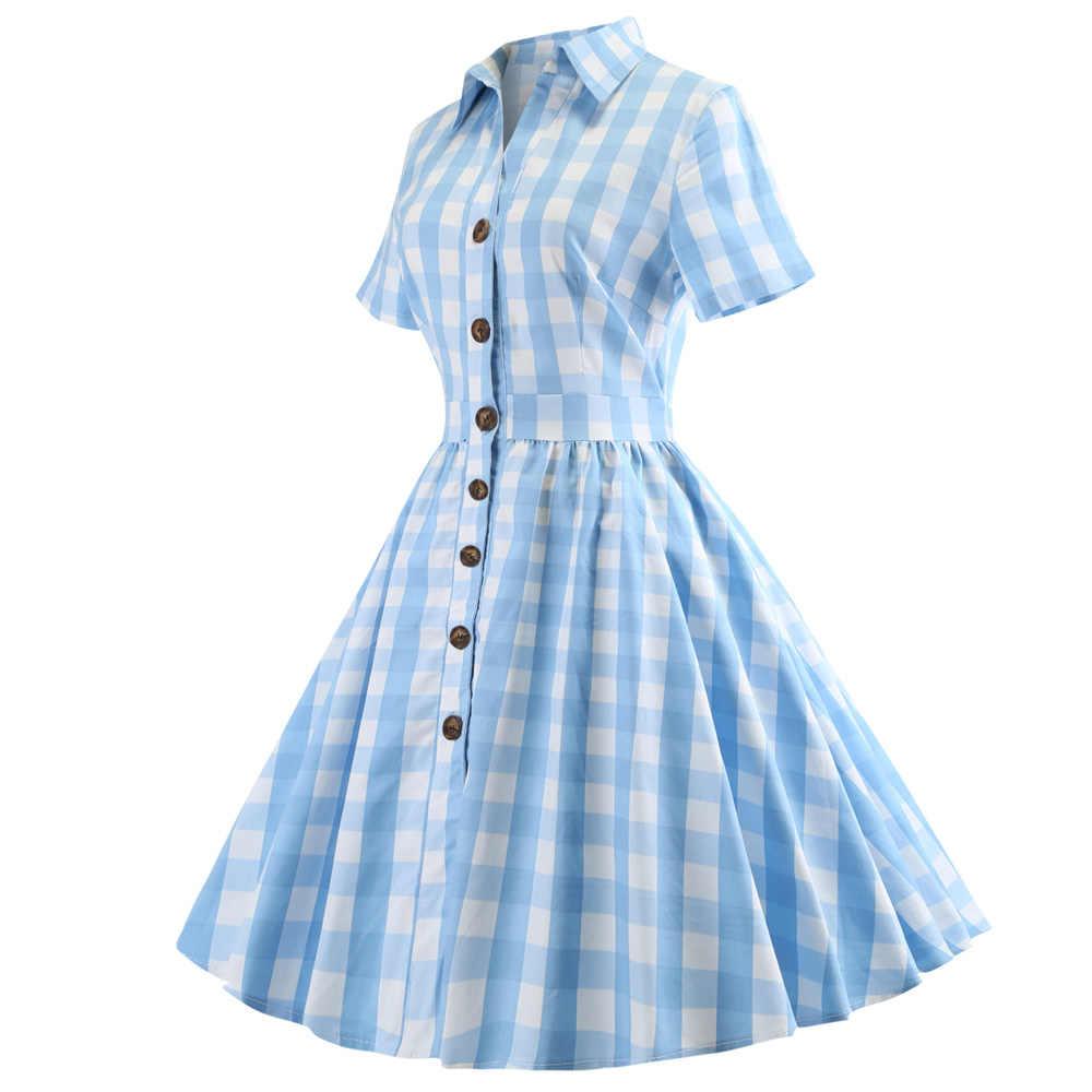 Joineles элегантное клетчатое женское вечернее платье с принтом 60s Одри Хепберн винтажное платье плюс размер 5XL качели рокабилли Feminino Vestidos