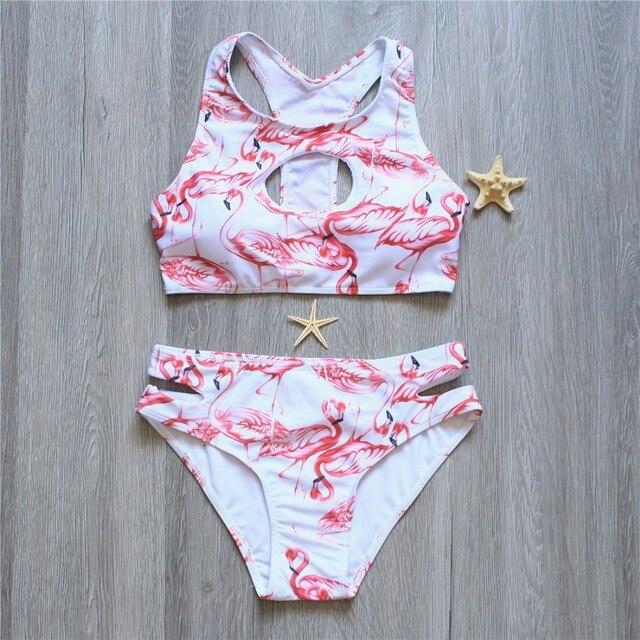f974169cf3 2018 New Summer Women Sexy Bikini Set Flamingo Print Swimsuit Bandeau Push  Up Swimwear Longline Bandage Bathing Suit Maillot