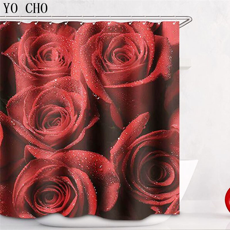 Eco-friendly 3D thicken Rose flower bath curtain shower curtain Waterproof Home Bathroom accessories Polyester Fabric 12 Hooks