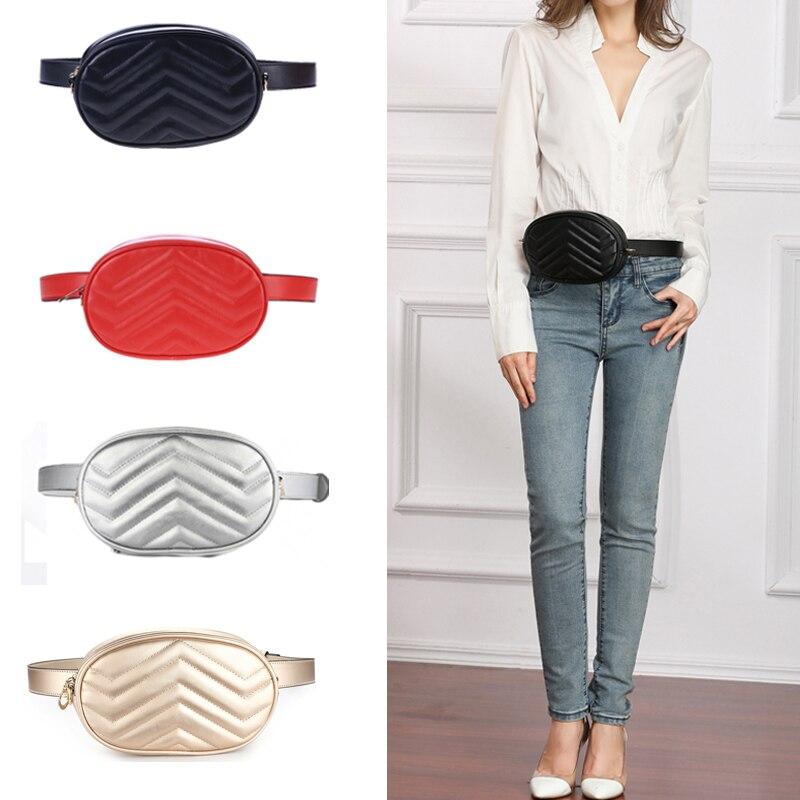 1PC Fanny Bag Women Waist Bag Pack Round Belt Girl Luxury Leather Shoulder Messenger Chest Bag Shopping Phone Pocket