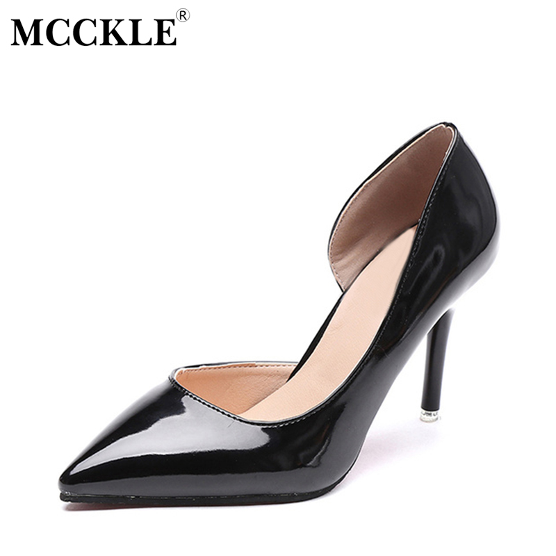 MCCKLE 2017 Fashion Women Shoes High Heels Woman Pointed Toe Patent Leather Ladies Sexy Party Pumps Casual Comfortable Black fashion genuine leather shoes woman pumps 2016 new sexy wedges high heels round toe lace up women casual party shoes size 34 39