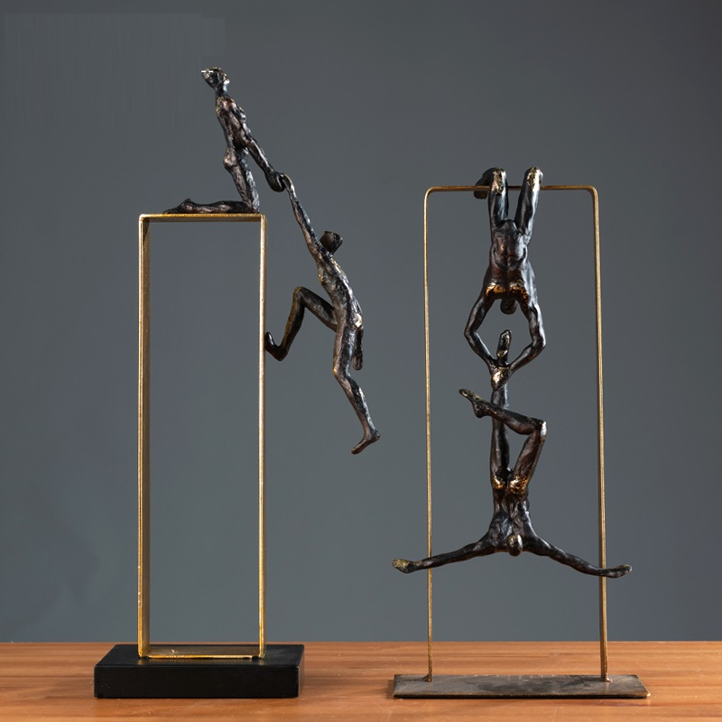 Retro Ballet Girl Figurines Old Wrought Iron Gymnastics Acrobatics Sport Art Sculpture Metal Living Room Decorations R1363