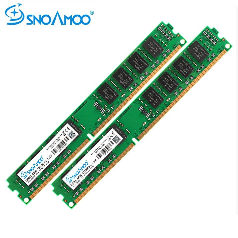 купить SNOAMOO Desktop PC RAMs DDR3 4GB 1333MHz 240 pin PC3-10600S 2GB 8GB RAM For Intel ARM DIMM Computer Memory Lifetime Warranty по цене 761.21 рублей