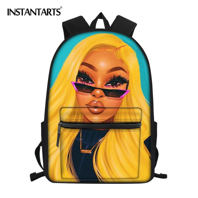 INSTANTARTS Teenager Girl School Bag Fashion Black Art African Girl Pattern Women Travel Backpack High Mochila Shoulder Book Bag