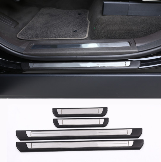 Car Outside Door Sill Scuff Threshold Protector Plate For Land Rover Discovery 5 LR5 2017 Car Accessory Styling 4Pcs set in Car Stickers from Automobiles Motorcycles
