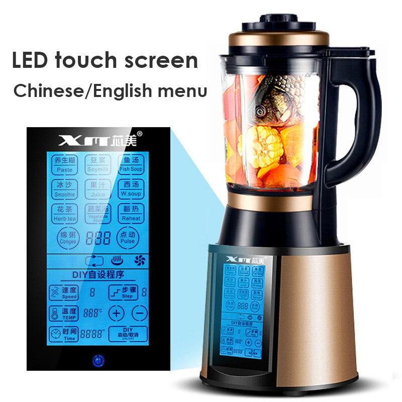 Multi-fonctions alimentaire mélangeur écran tactile chinois anglais langue LED affichage 220 V 48000 tr/min Super puissant mélangeur alimentaire glace écraser