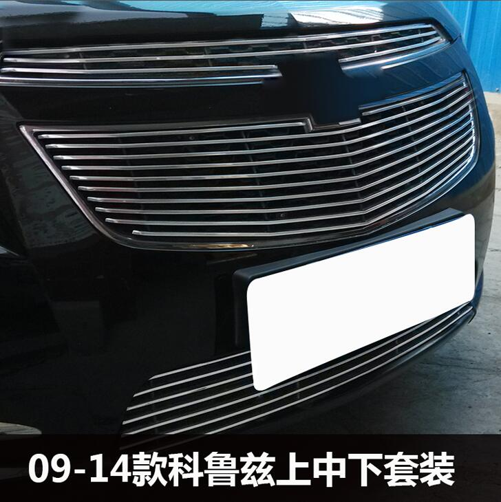 TOP Quality Stainless steel Car front bumper Mesh Grille Around Trim Racing Grills case for Chevrolet Cruze 2009-2013 3pcs keyhole front flounce trim knot detail top
