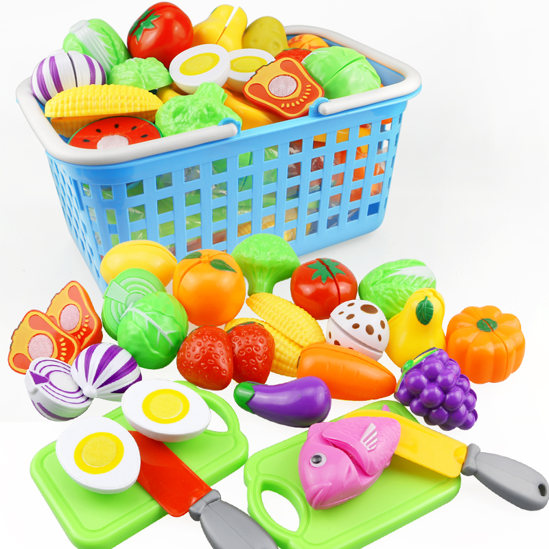 23PCS Plastic Kitchen Food Fruit Vegetable Cutting Kids Pretend Play Toy Pizza Cake Educational Toy Cook Cosplay Mini Food Toys