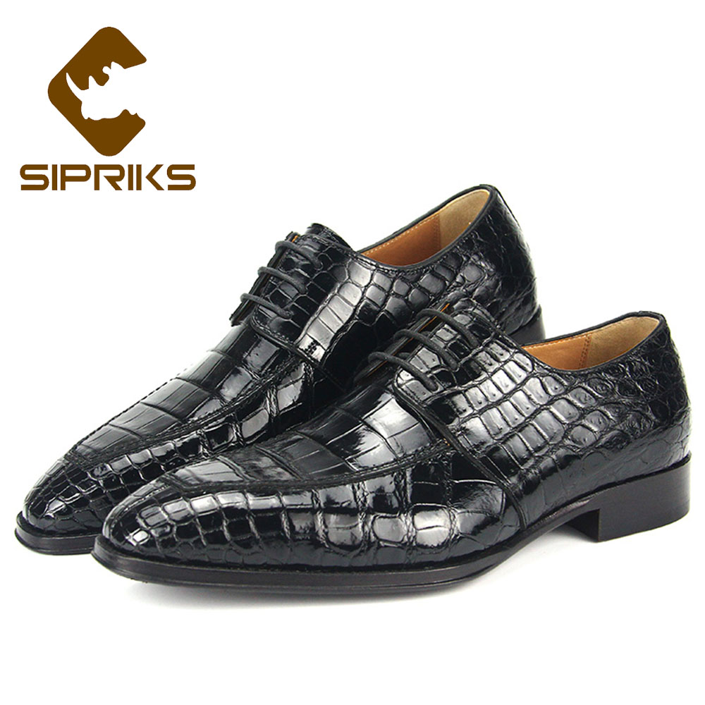 Genteel Sipriks Mens Original Crocodile Skin Dress Shoes Elegant Black Lace Up Boss Business Goodyear Welted Shoes Gents Suit Social 43 Pure White And Translucent Formal Shoes