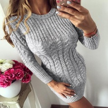 2018 New Autumn and Winter Warm Sweater Dress Female Sexy Bodycon Dress Women's Round-Neck Long Sleeve Knitted Vestidos Dress round neck long sleeve bodycon dress