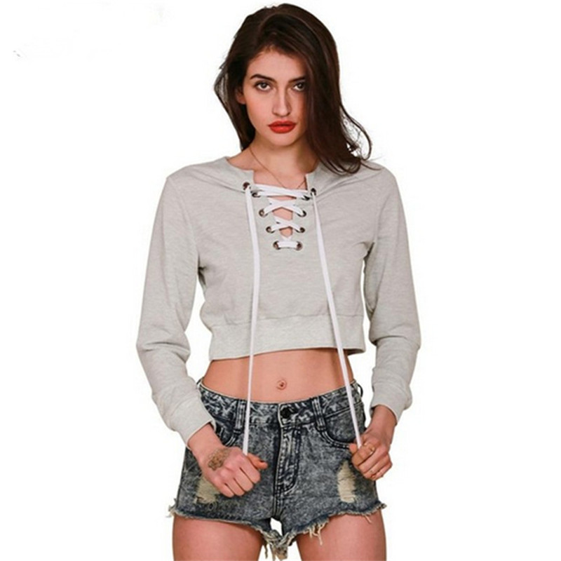 2017 Leisure Female Sexy V Neck Criss Cross Tie Up Ribbed T Shirt Women Autumn Long Sleeve Tops Hollow Solid Tee Top Shirt