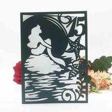 35pcs 15th Girls Birthday Decoration Invitations Card Mermaid DIY Party Gift Invitation best wishes Greeting