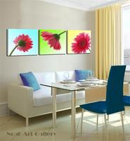 Group 3 Panels Red Daisy Flower Modern Abstract Giclee Print On Canvas High Definition Wall Art
