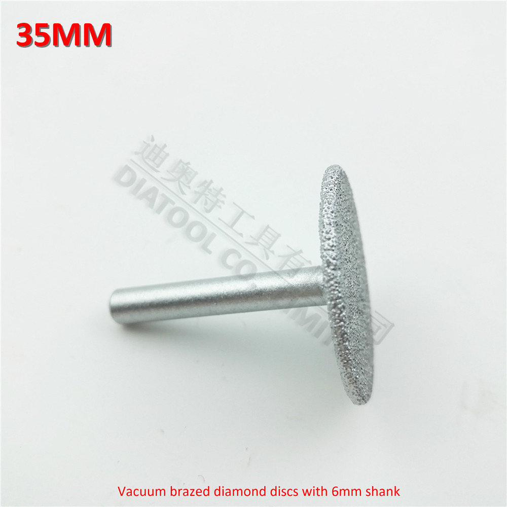 DIATOOL  Dia35mm Vacuum Brazed Diamond Discs With 6mm Shank For Cutting Grinding And Engraving Diamond Disc