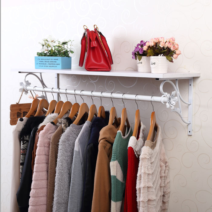 Wall Cloth Hanger wrought iron cube wall clothing display rack clothes hanger