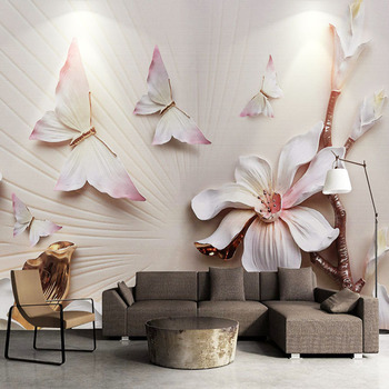 Papel tapiz 3D, moderno, en relieve, Magnolia, Color floral, mariposa, pared de fotos, sala de estar Mural para, TV, sofá, dormitorio, Mural de papel de pared