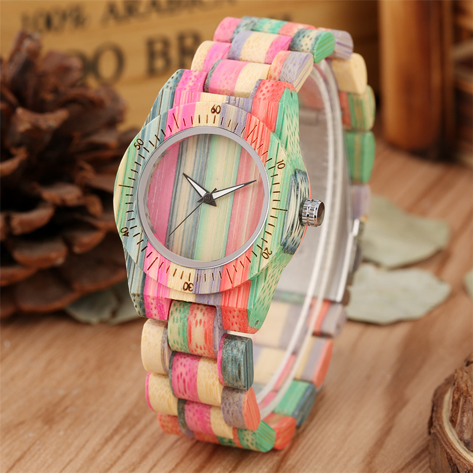 Minimalist Rainbow Colors Women's Watch Full Bamboo Wooden Bangle Ladies Wristwatch Unique Hot Fashion Quartz Timepiece Gifts(China)