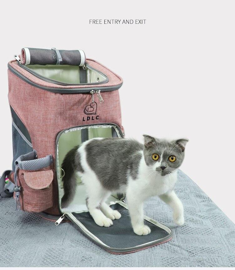 Portátil dobrável respirável pet backpack Oxford kit