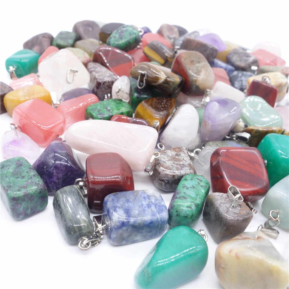 ขายส่ง 50 ชิ้น/ล็อตอินเทรนด์สารพันหินธรรมชาติผสมรูปร่างไม่สม่ำเสมอ Chakra Charms จี้ Charms เครื่องประดับจัดส่งฟรี