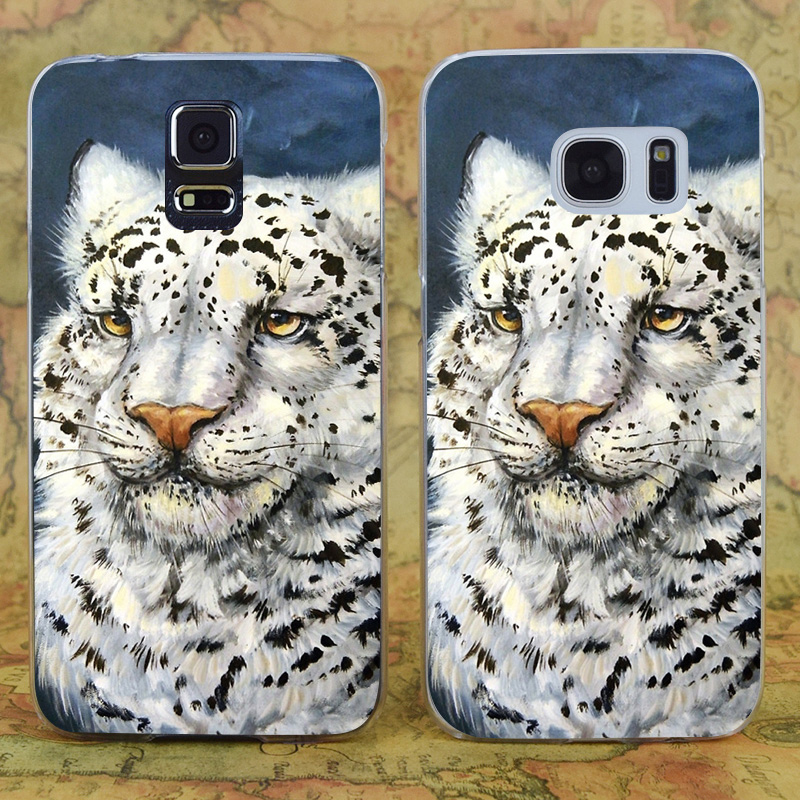 E1200 Snow Leopard Transparent Hard PC Case Cover For Samsung Galaxy Note 3 4 5 7 S 3 4 5 6 7 Mini Edge Plus
