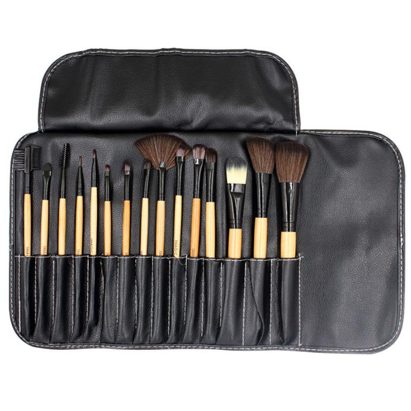 Makeup-Brush-Set Eye-Shadow-Brush Cosmetic Blending 15PCS Mar7 Pu-Bag