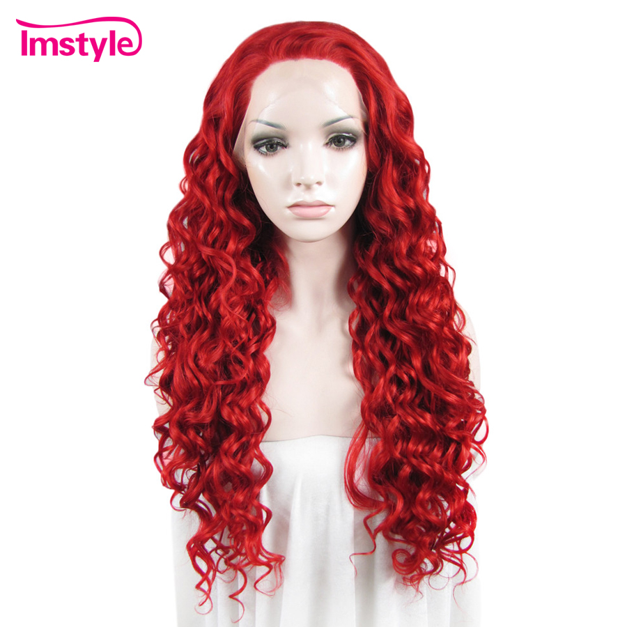 Imstyle Red Curly Wigs For Women High Temperature Fiber Long Hair Synthetic Lace Front Wig With
