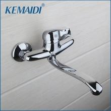Одноцветное кран горячей и холодной водопроводной воды Одной ручкой мыть хромированная отделка ванной Кухня Раковина смесители стены установленный