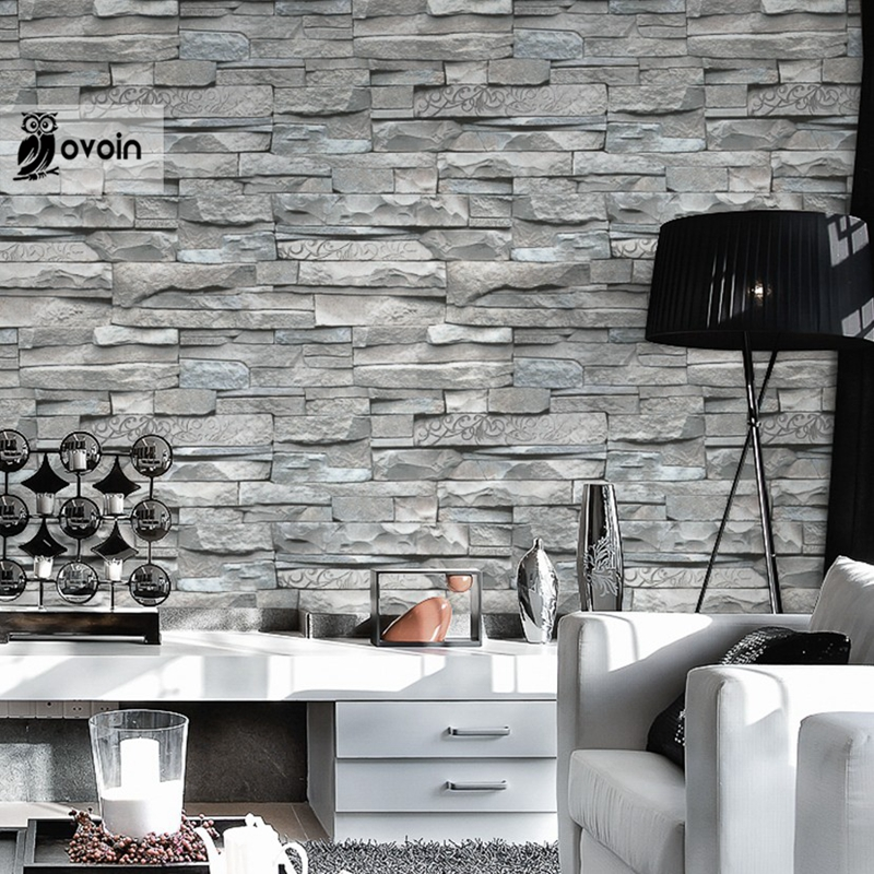 Buy grey white embossed brick wall for Grey brick wallpaper living room